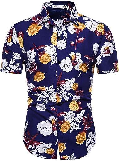 XuanhaFU Poliéster tee Shirt 1 Pack, Camisa de Manga Corta Estampada La Flor para Hombre (Multicolor, L): Amazon.es: Ropa y accesorios