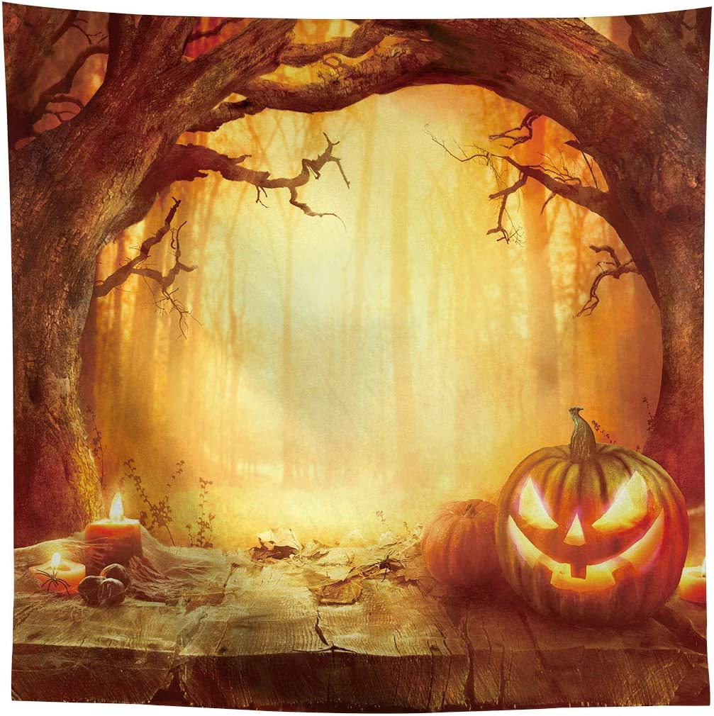 DaShan 8x6ft Polyester Horrible Halloween Backdrop Scary Ghost Witch Wizard Sorcerer Theme Halloween Photography Background Moon Bats Pumpkin Lamp Misty Creepy Haunted House Halloween Photo Props