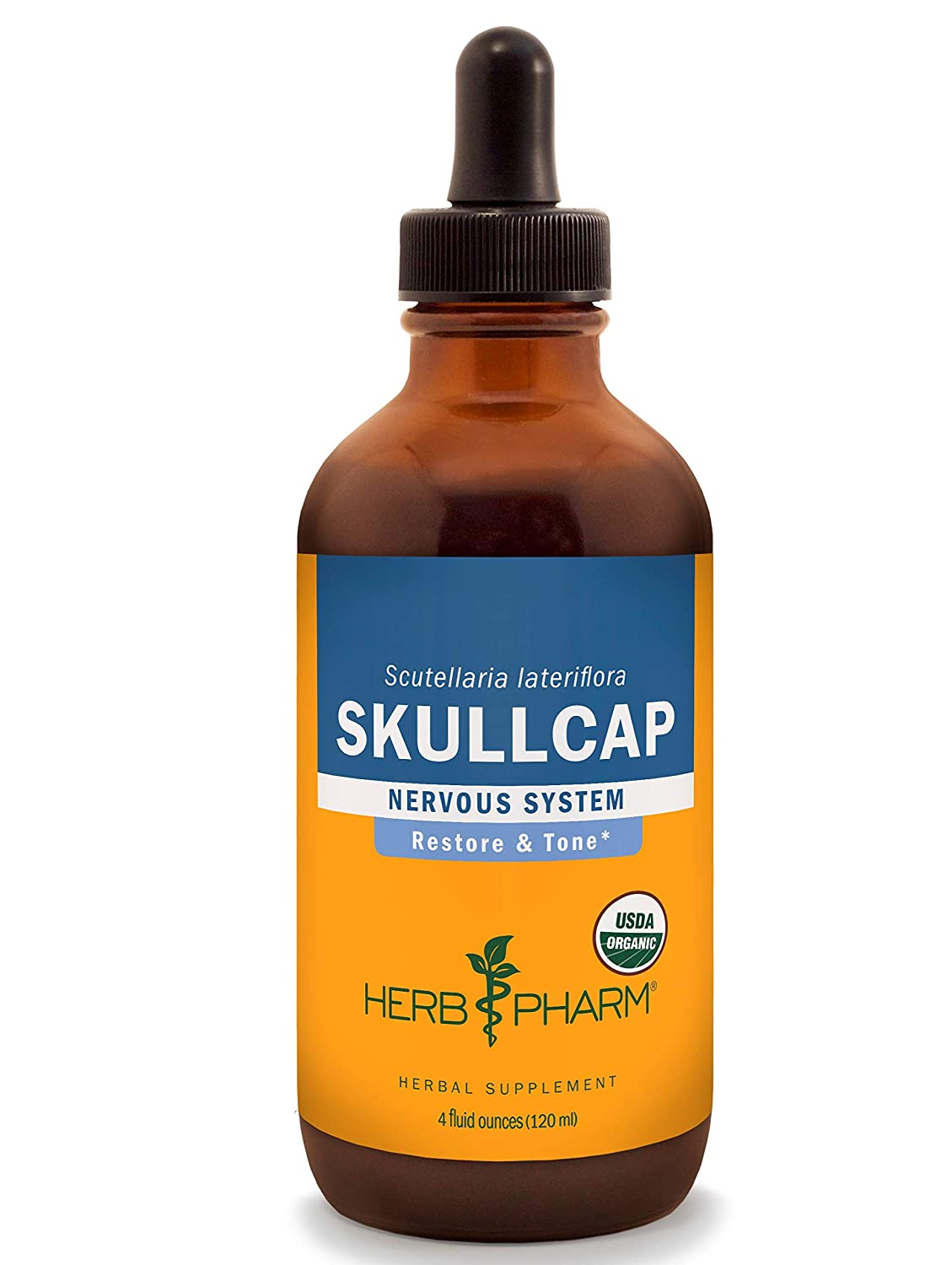 Herb Pharm Certified Organic Skullcap Liquid Extract for Nervous System Support, Organic Cane Alcohol, 4 Ounce