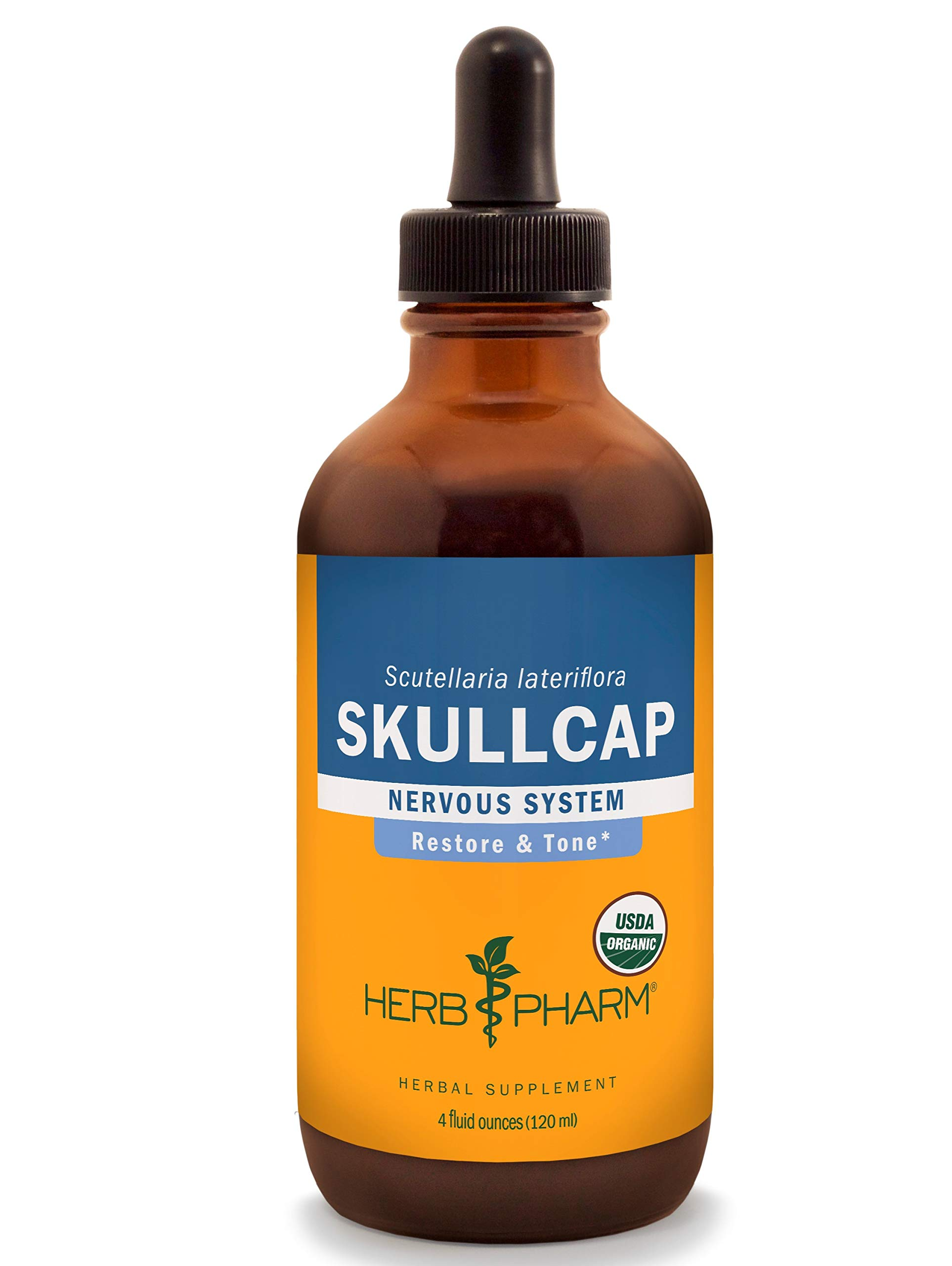 Herb Pharm Certified Organic Skullcap Liquid Extract for Nervous System Support - 4 Ounce