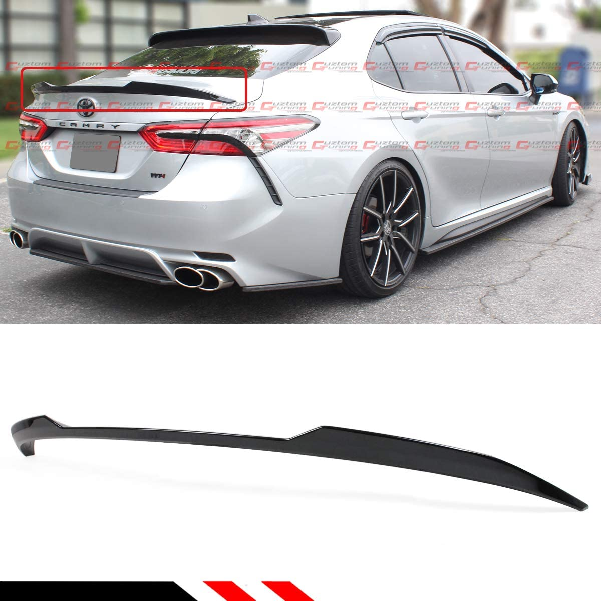 Painted Gloss White Finish Cuztom Tuning Fits for 2018-2020 Toyota Camry LE XLE Hybrid V Style Rear Trunk Lid Spoiler Wing
