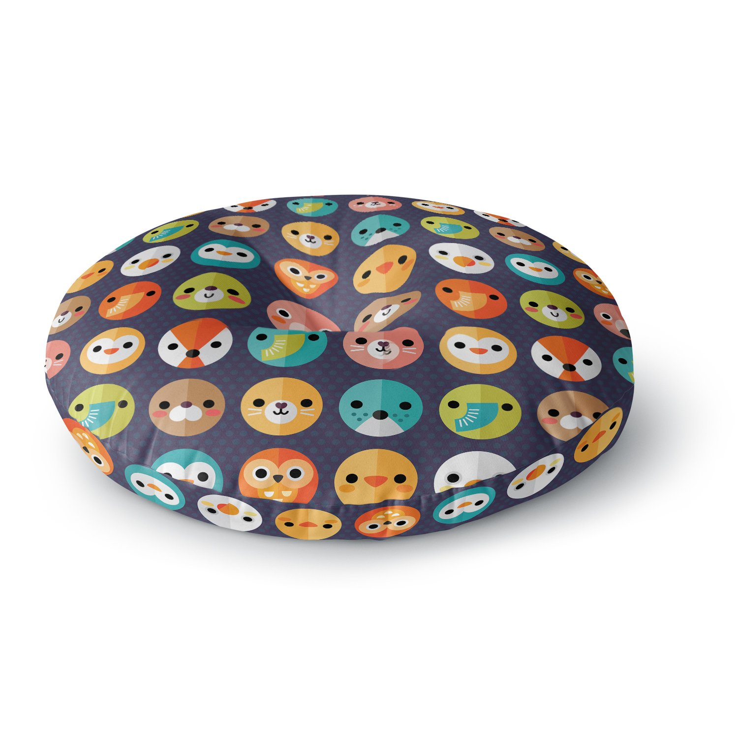KESS InHouse Daisy Beatrice Smiley Faces Repeat Animal Pattern Round Floor Pillow, 26'' by Kess InHouse (Image #1)