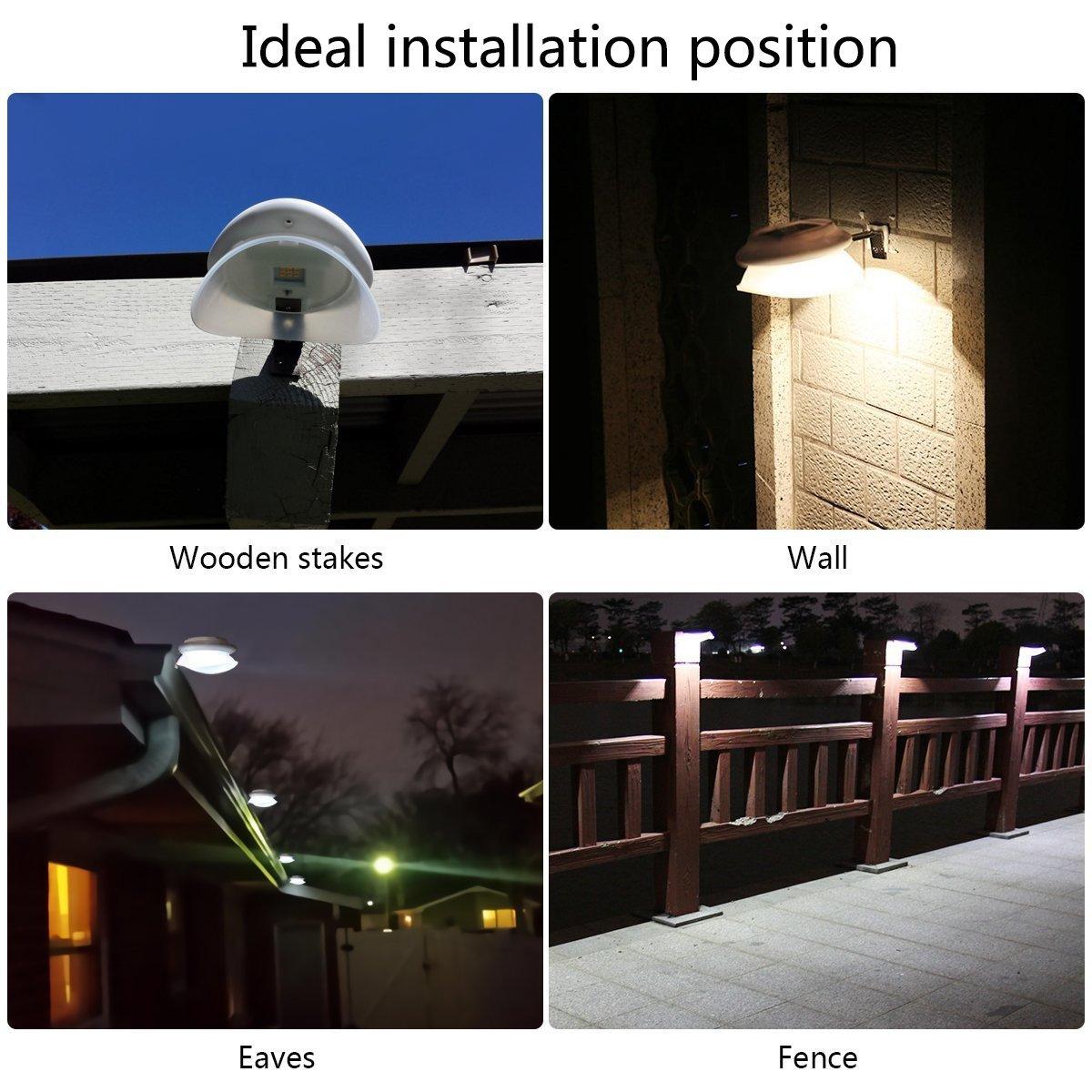 Solar Fence Lights, DS Lighting Outdoor 9 LED Gutter Light Waterproof Security Lamps for Eaves Garden Landscape Walkway (Warm White, 6 Pack)