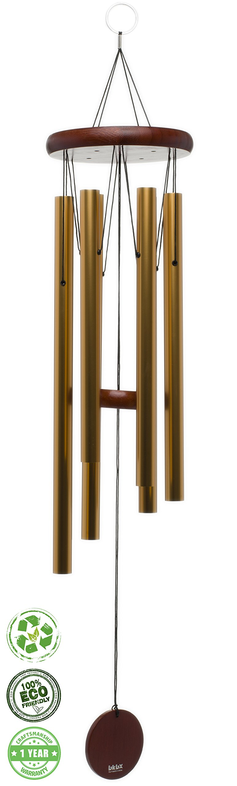 Brooklyn Basix Freedom Chime for Patio, Garden, Terrace and Balcony - Beautiful Outdoor Decor - Easy to Install Wind Chimes - Durable and Hand Tuned (Cherry/Gold, Medium 29'')