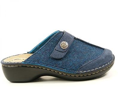 Rohde 6097 Mainz Schuhe Damen Pantoffeln Wechselfußbett Weite G, Schuhgröße:37;Farbe:Blau