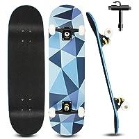 Skateboard para Principiantes Niños Adultos 79 X 20 Cm, Monopatin Completo de 7 Capas de Madera de Arce para Niños y…