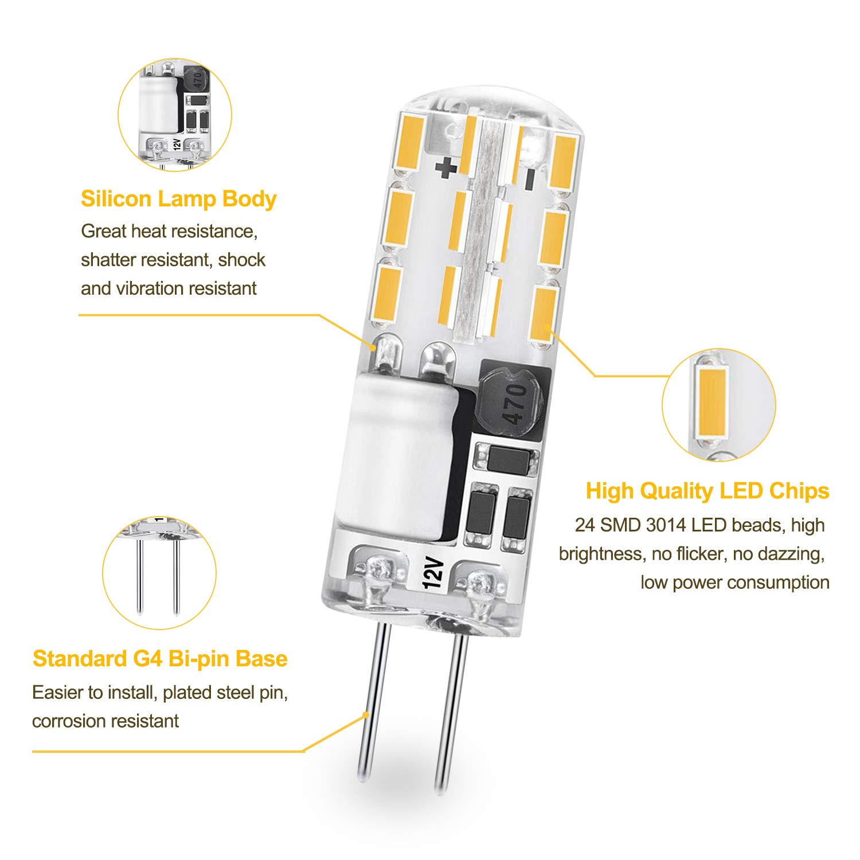 Yuiip - Bombillas LED G4 2 W equivalentes a 15 W, 20 W, bombilla halógena blanca cálida 2700 K, no regulable, CA/CC, 12 V, paquete de 10 [Clase de ...