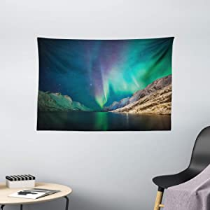 Ambesonne Nature Tapestry, Mystical Aurora Borealis Above The Rocky Hills Magnetic Poles Solar Space Panorama, Wide Wall Hanging for Bedroom Living Room Dorm, 60