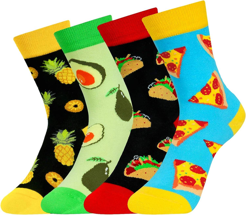 4 Pack Kids Boys Girls Novelty Crew Socks Funny Cartoon Cute Animal Food Avocado Pineapple Ball
