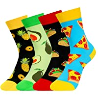 4 Pack Kids Boys Novelty Crew Socks Funny Cartoon Cute Animal Food Book Ball