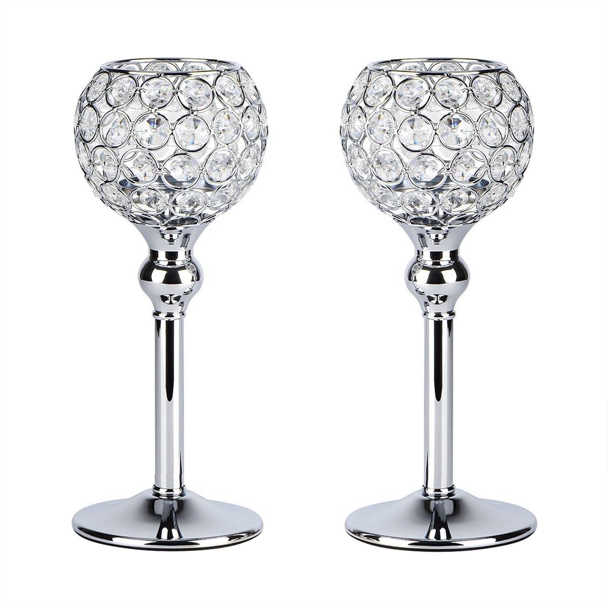 Autai 2pcs Silver Crystal Candle Holder for Wedding Centerpieces Candlesticks Birthday Party Dining Table Candlelight Home Decoration