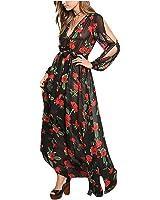 Eloise Isabel Fashion Mulheres maxi dress belas flores vermelhas impresso floral dress sexy profundo decote em