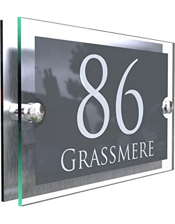 Free standing Effect House Number Plaque Garden Lawn Path House Number Sign.