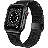 jwacct Stainless Steel Bands Compatible for Apple Watch 38mm 40mm 42mm 44mm, Adjustable Magnetic Metal Strap with Soft…