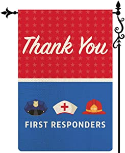 Coskaka Thank You First Responders Garden Flag, Heroes Police Law Doctor Fire Officers Vertical Double Sided Red Blue Rustic Farmland Burlap Yard Lawn Outdoor Decor 12.5x18 Inch