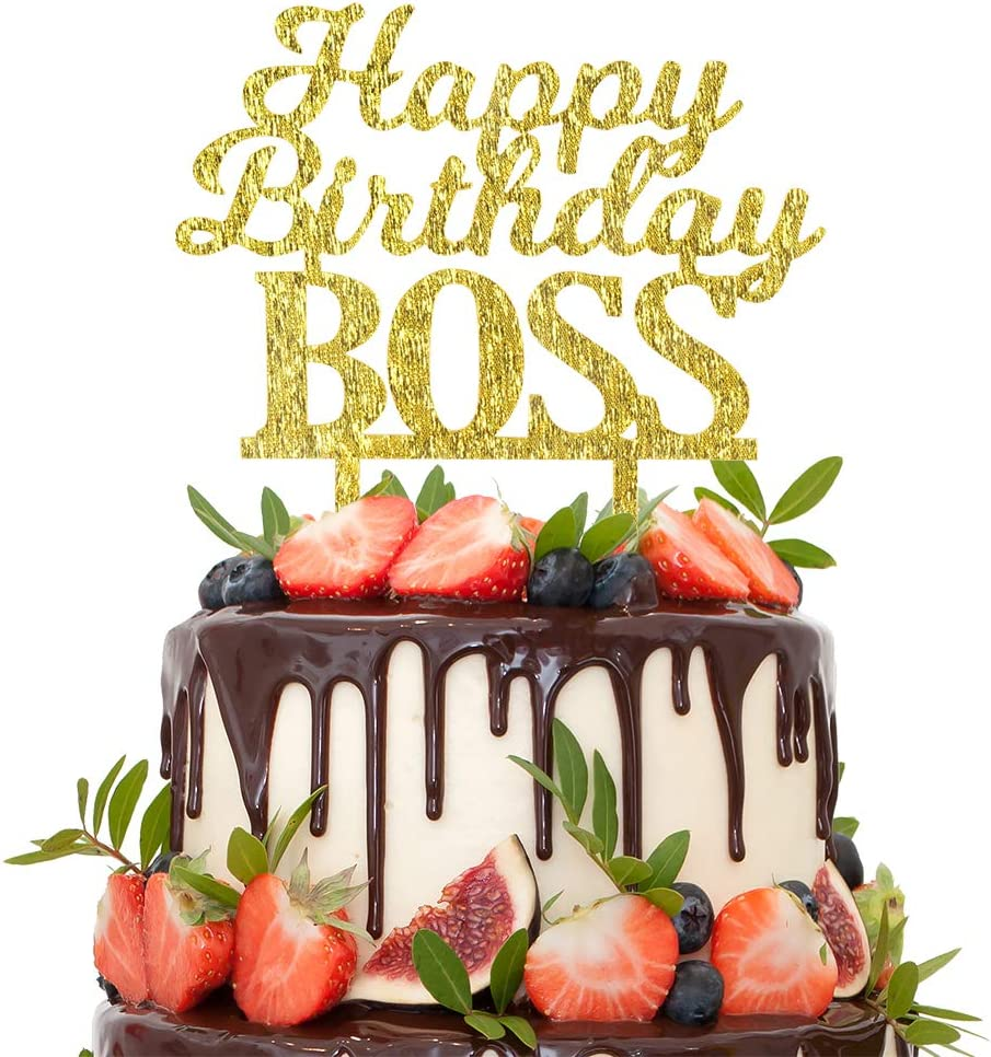 Pleasing Amazon Com Happy Birthday Boss Gold Glitter Cake Topper Funny Personalised Birthday Cards Paralily Jamesorg