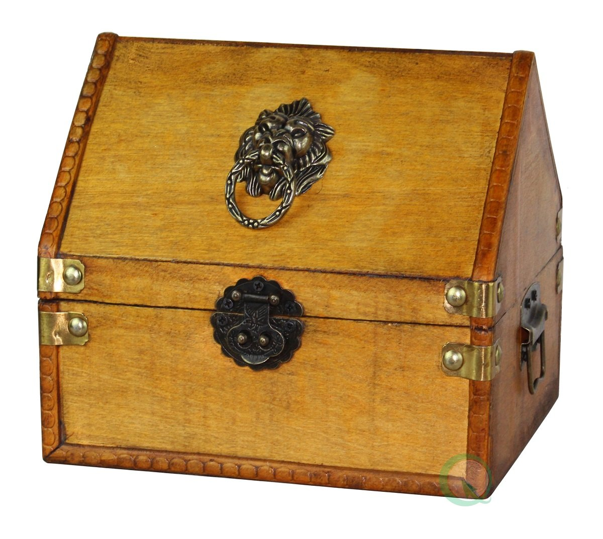 Vintiquewise(TM) Small Pirate Chest/Decorative Box with Lion Rings by Vintiquewise