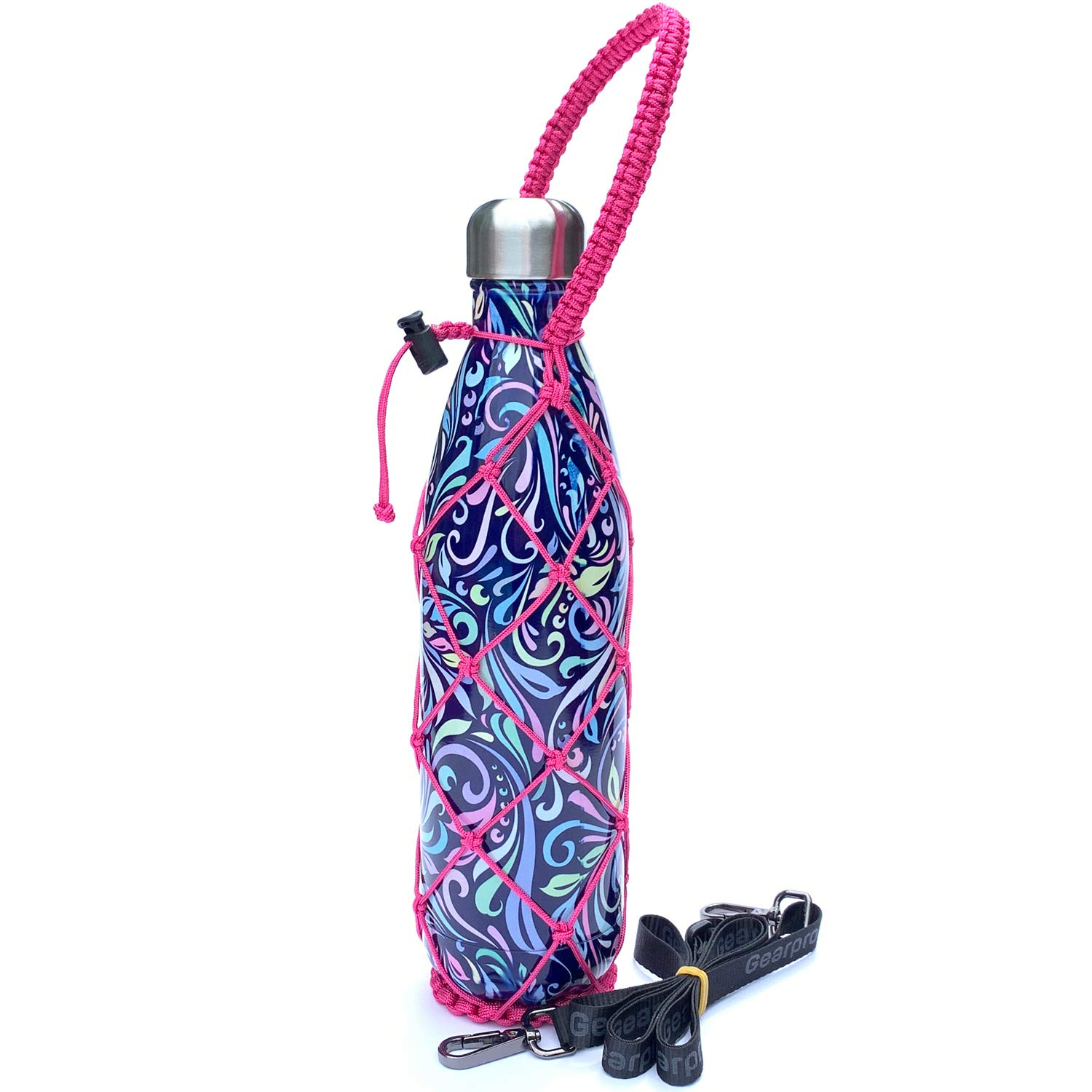 Gearproz Net for S'Well and Mira 25 oz Bottle - Carries and Protects Your Cola Shaped Bottles - with Detachable Shoulder Strap (Pink, 25 oz)