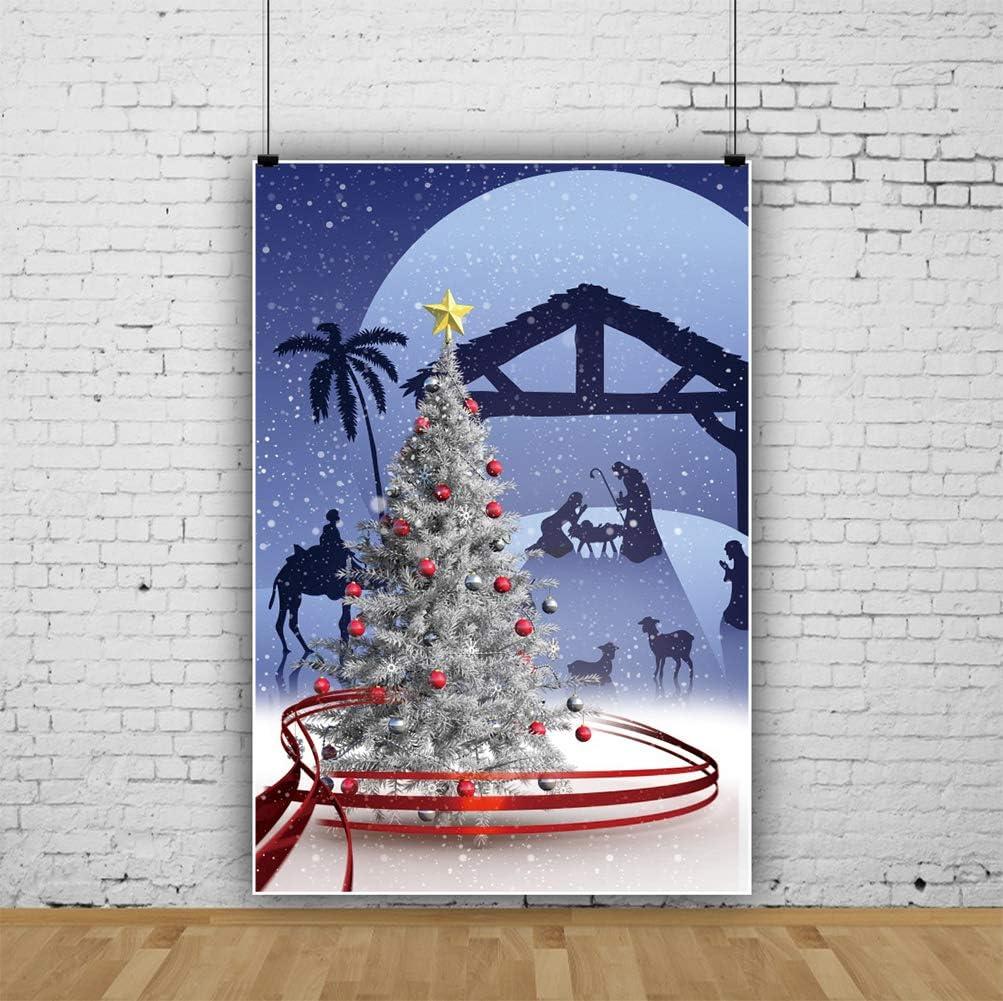 Leyiyi 3x5ft Merry Christmas Photography Backdrop Xmas Decoration Balls Christmas Tree Christmas Elk Pray Photography Studio Fabric Background Photobooth Prop