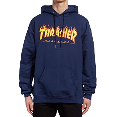 56eb162561c6 Amazon.com  Thrasher Flame Hoodie - Navy  Clothing