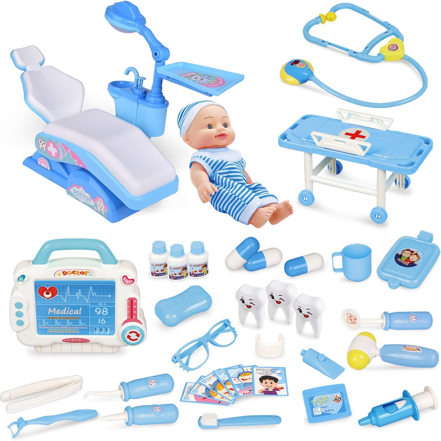 FUN LITTLE TOYS Kids Doctor Kit-33 Pieces, Pretend Play Dentist Medical Kit with Electronic Stethoscope and Dental Unit Chair for Kids and Doctor Roleplay