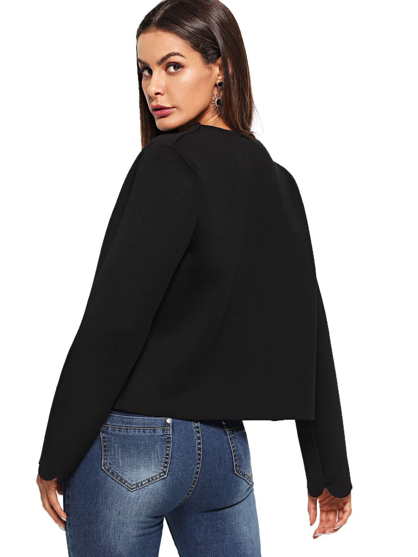 Romwe Women's Scallop Hem Casual Work Office Open Blazer Jacket Black Large by Romwe (Image #2)