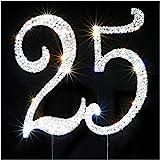 25 Cake Topper | Premium Bling Crystal Rhinestone Diamond Gems | Birthday or Anniversary Party Decoration Ideas…