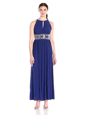 54f8905d583 Amazon.com  R M Richards Women s Halter Gown with Beaded Waist  Clothing