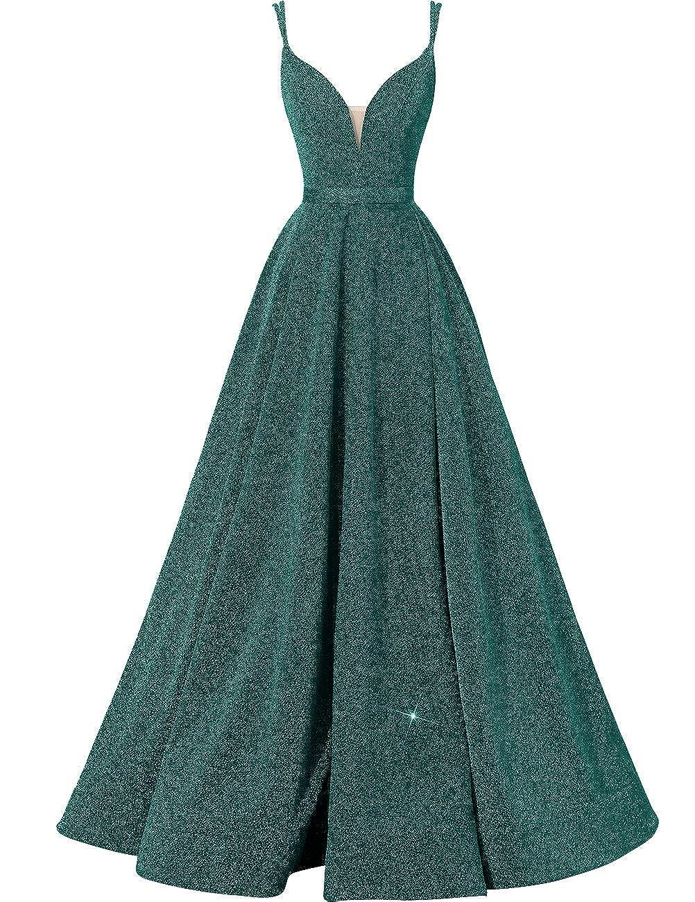 Green VKBRIDAL Women's Glittery Spaghetti VNeck Prom Dresses Long Side Split Formal Evening Gowns