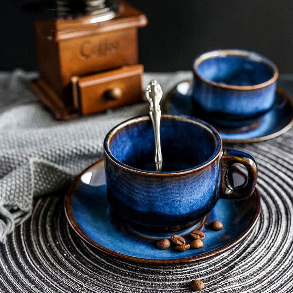 tasse de petit d/éjeuner th/é dapr/ès-midi Antique bleu couleur tasse de caf/é expresso tasse de th/é de fantaisie tasse de th/é floral ZSAIMD Ensemble de soucoupe tasse de caf/é en c/éramique bleu profond