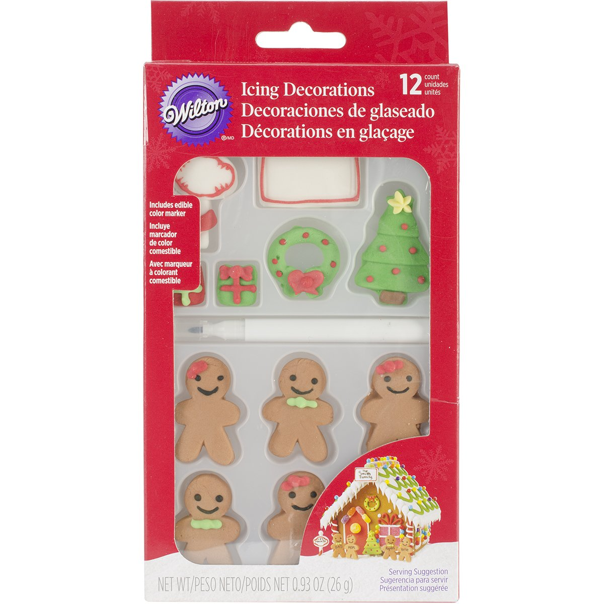 Wilton 710-3472 12 Count Christmas Gingerbread Icing Decorations