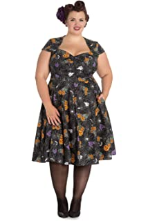 f6567b310 Hell Bunny Plus Size Goth Black Spiderweb Bats Halloween Harlow 50 s Dress