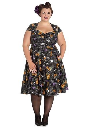 da90c39950f Hell Bunny Plus Size Goth Black Spiderweb Bats Halloween Harlow 50 s Dress  ...