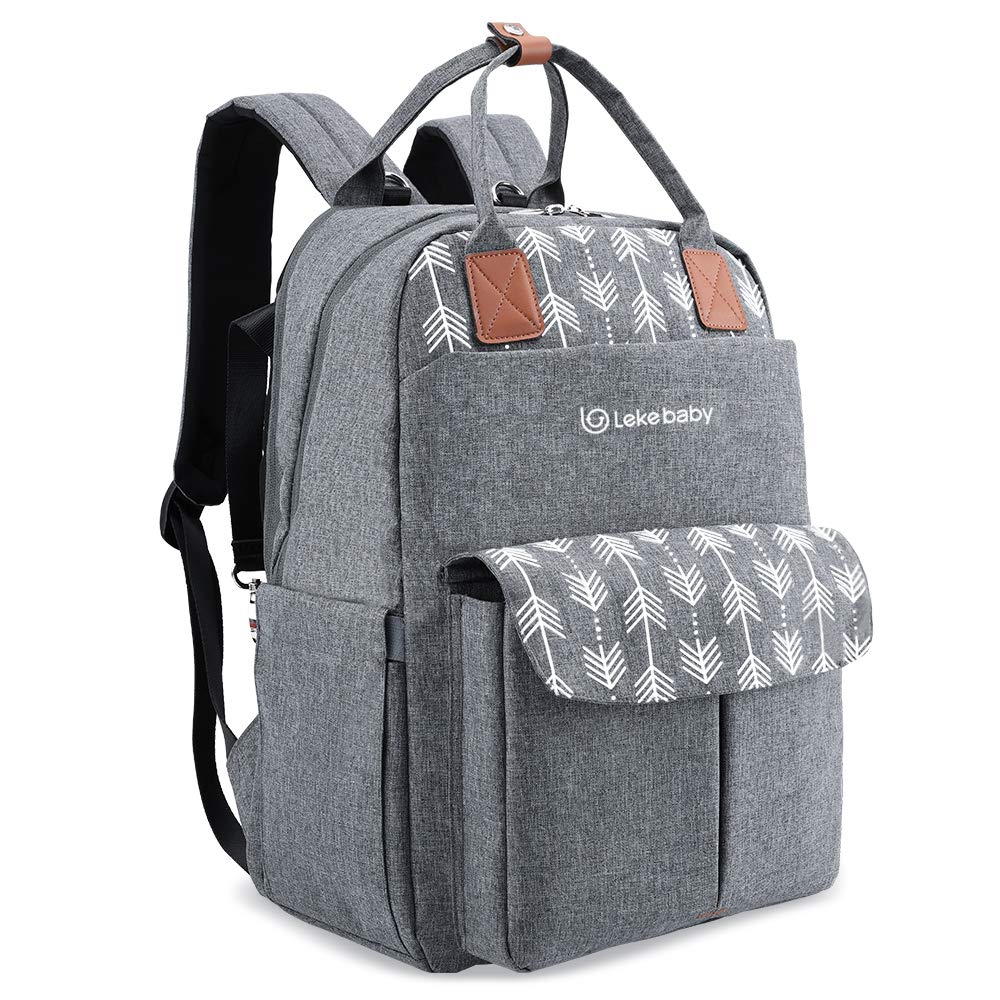Lekebaby Large Diaper Bag Backpack with Changing Pad and Stroller Straps with Arrow Print, Gray by Lekebaby