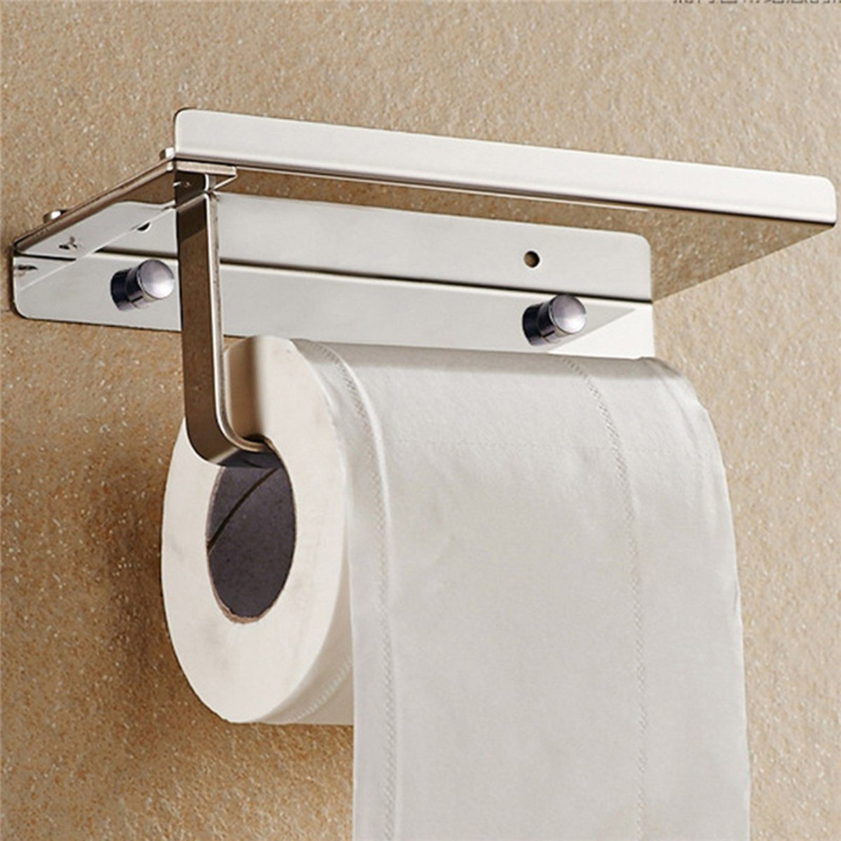Wall Mount Toilet Paper Holder by CharaVector, Stainless Steel Bathroom Lavatory Toilet Paper Holder with Storage Shelf, Brushed Aluminum