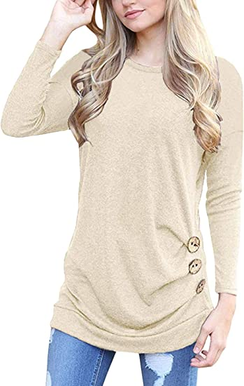 Womens Lightweight Solid Color Short Sleeves Round Neck Blouses Loose T Shirt with Buttons