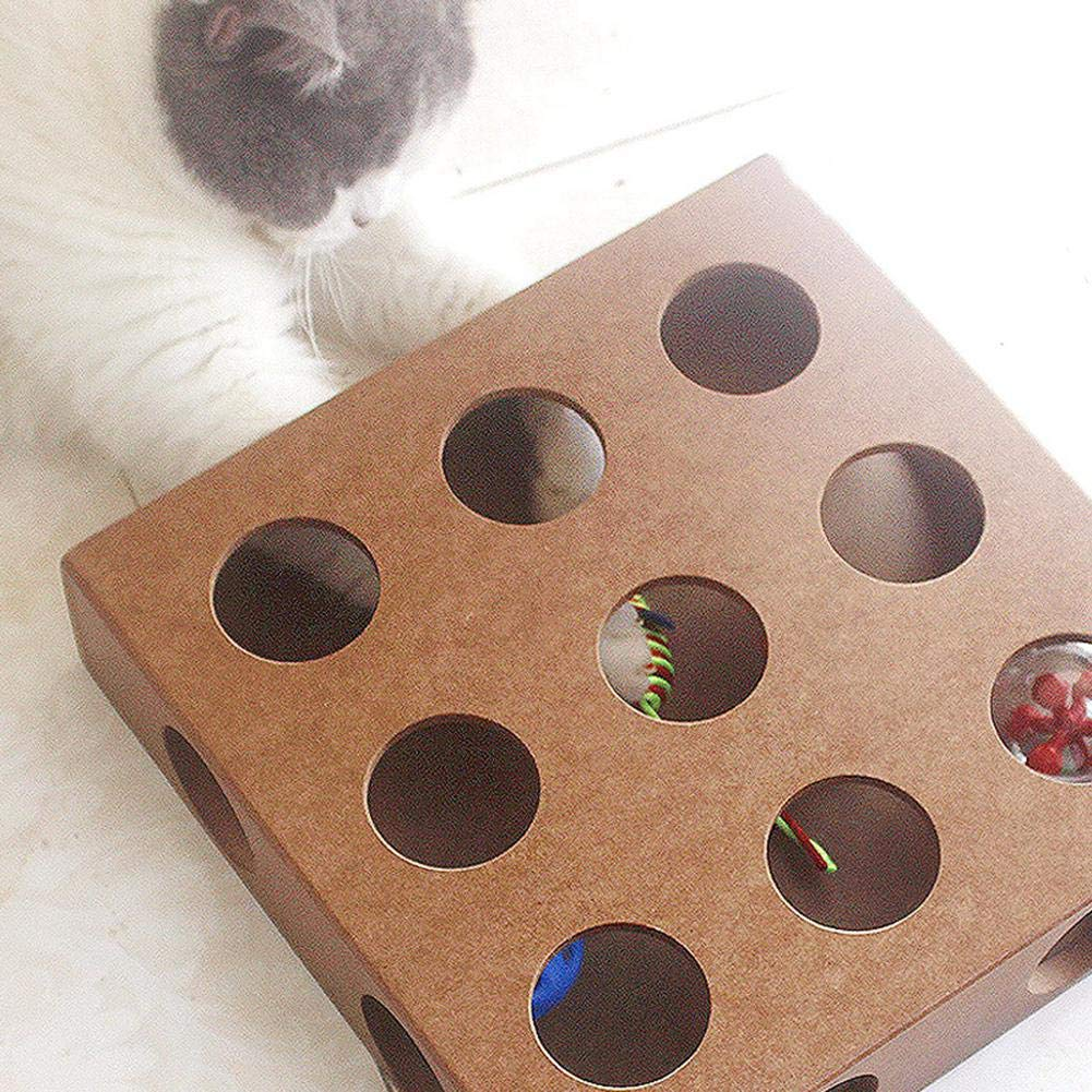 Amazon.com : Leegoal Interactive Cat Toy Puzzle Box, Wooden Peek Play Toy Box, Hide & Seek Cat Mice Toy & Puzzle Fedder 4 Adorable Cat Toys : Pet Supplies