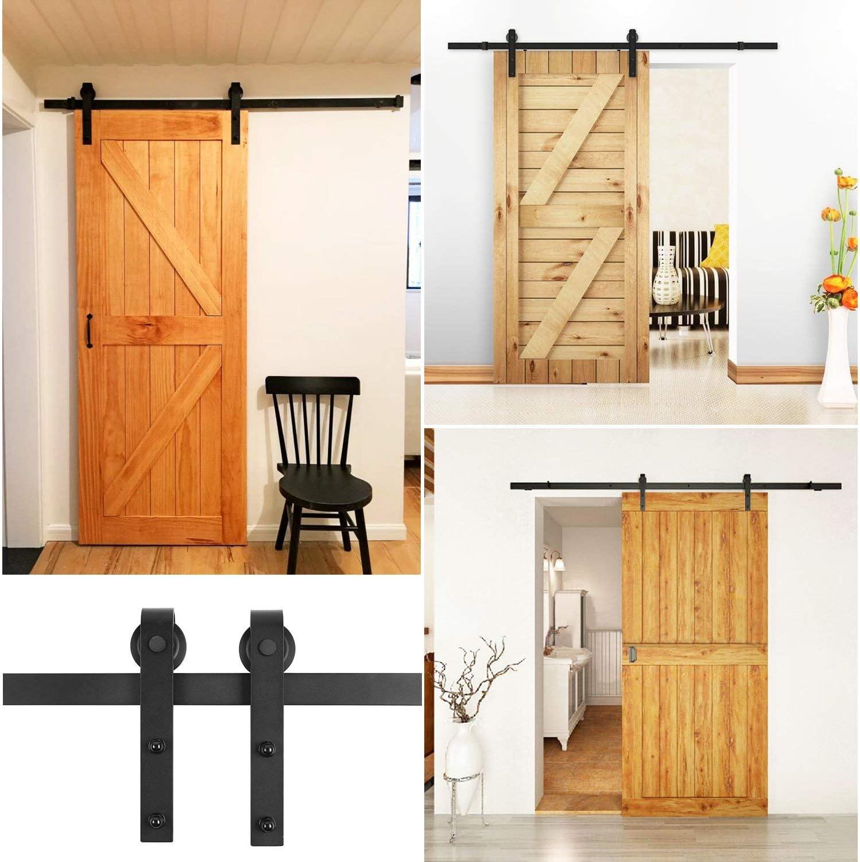 Cartkningts - Herraje para puerta deslizante, rieles para puerta deslizante, para puertas correderas interiores, 200 cm: Amazon.es: Bricolaje y herramientas