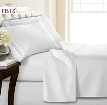 Amazon.com: FBTS Juego de sábanas básicas de 4 piezas, serie ...