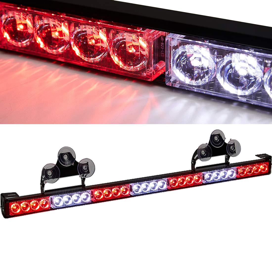 SmallfatW 32 Inch 28 LED Hazard Emergency Warning Tow Traffic Advisor Flash Strobe Light Bar with Cigar Lighter and Suction Cups (Red/White)