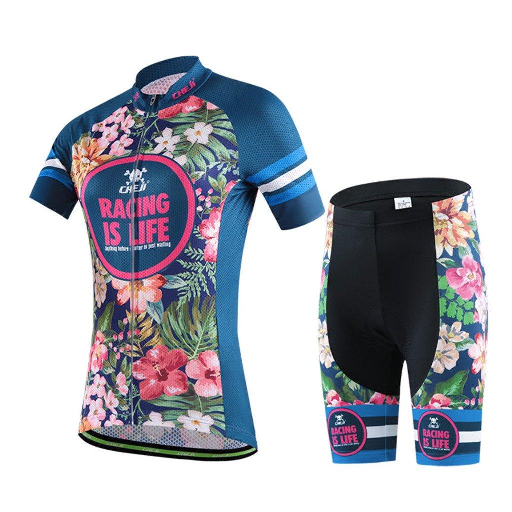 G WELL Damen Radtrikot Set Blumen Fahrradbekleidung Trikot Kurzarm + Radhose mit 3D Sitzpolster