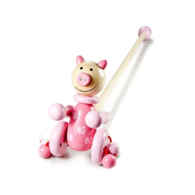 Mousehouse Gifts Wooden Push Pull Baby Toddler Toy Pink Pig Farm Animal for Girls: Toys & Games