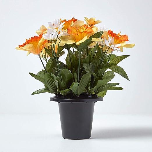 Grave Pot Artificial Silk Flower Arrangement Memorial Graveside Daffodils