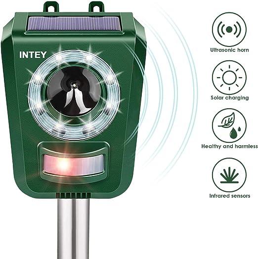 INTEY Katzenschreck Ahuyentador, Solar y USB, Funciona con Pilas ...