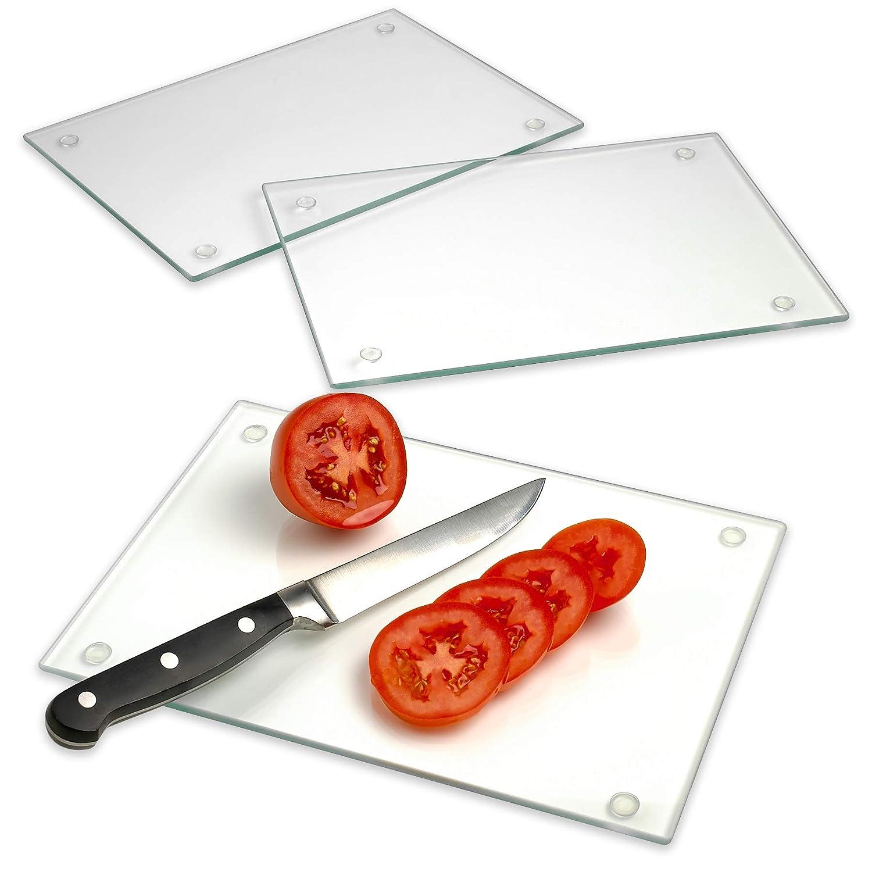 強化ガラス製まな板 3個セット - 10インチ x 7インチ - 長持ちする透明ガラス - 傷がつきにくく、耐熱性があり、飛散防止、食器洗い機使用可。 B07G7GNJSX