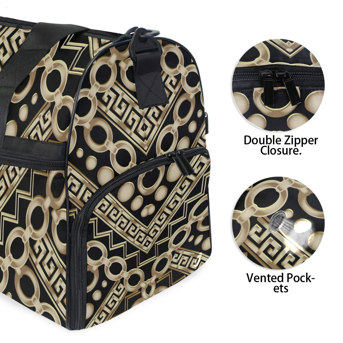 Travel Duffel Bag Ornamental Decorative Ethnic Style Chains Waterproof Lightweight Luggage bag for Sports Gym Vacation