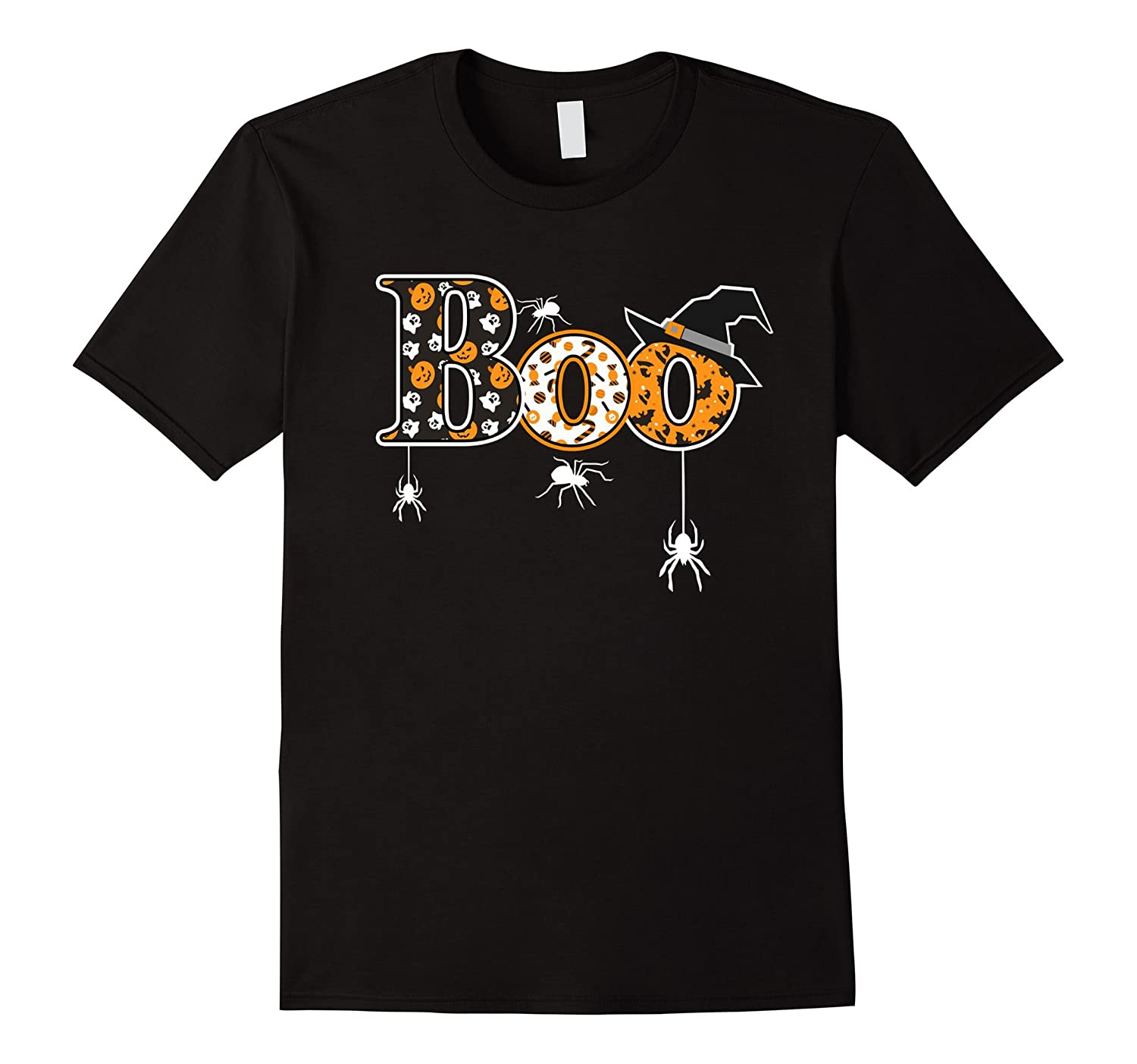 Boo Halloween T-Shirt With Spiders And Witch Hat-T-Shirt