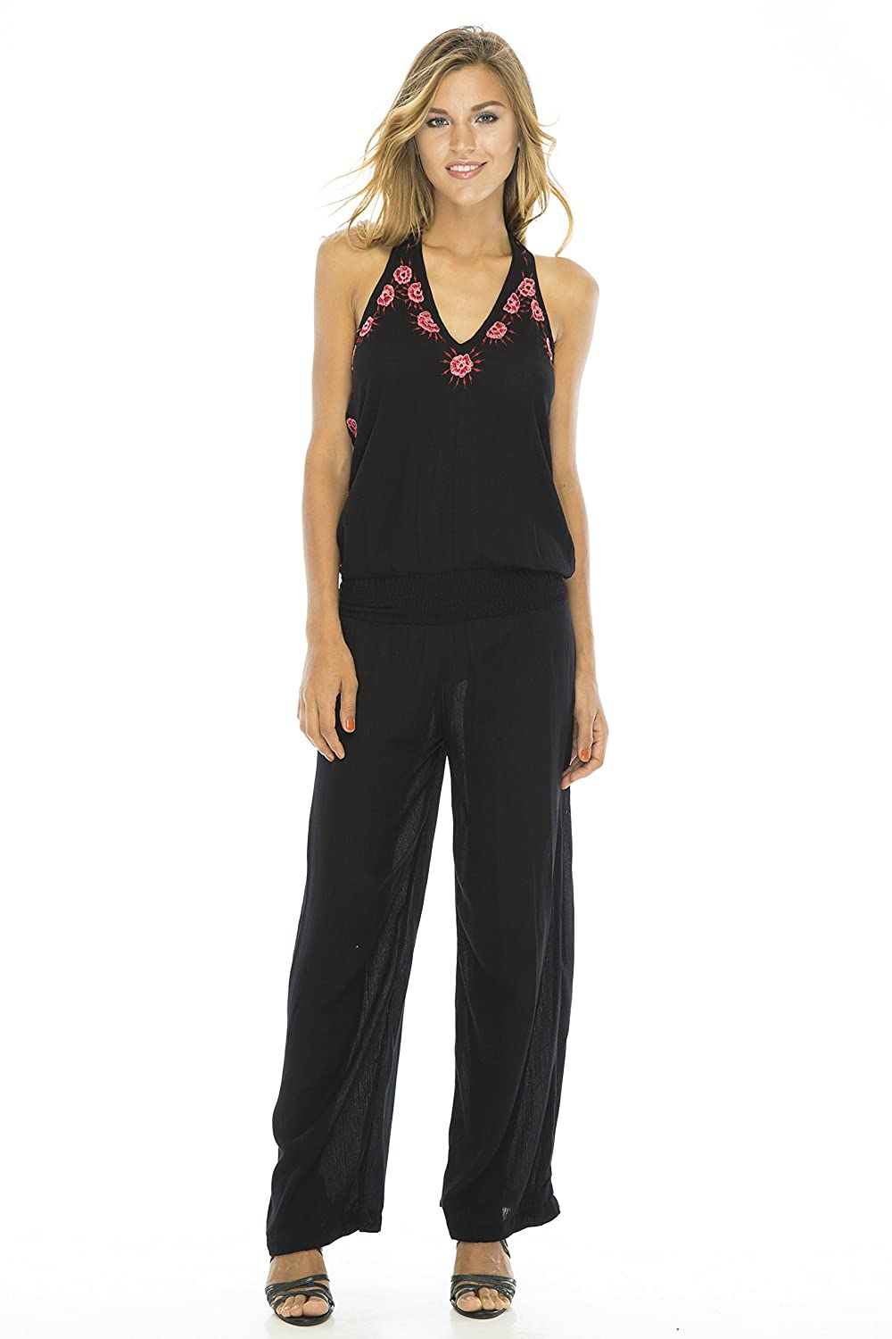 Back From Bali Womens Jumpsuit Long Boho Embroidered Halter Sleeveless Low Back