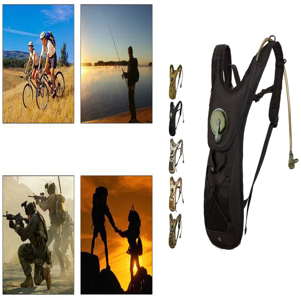 CUTICATE 2.5L Hydration Pack Water Bag Pouch Backpack Bladder Hiking Cycling Black by CUTICATE