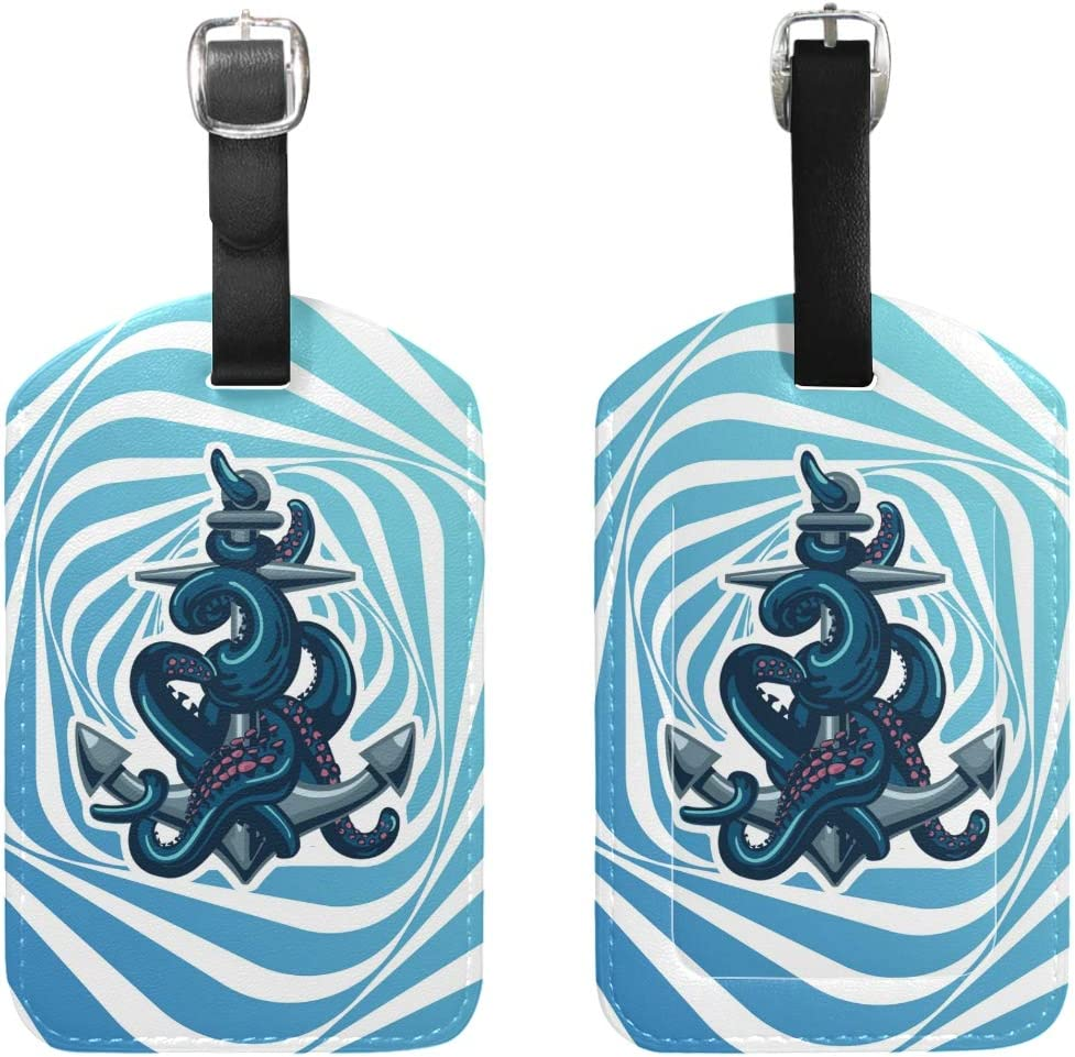 Travel Octopus Tentacles Anchor Leather Luggage Tags with Black Strap Set of 1